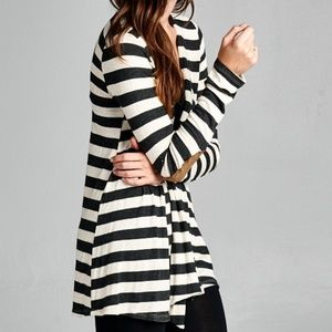 Women's Charcoal Striped Cardigan Elbow Patch NWT